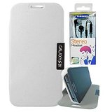 Samsung Galaxy S4 i9500 White Flip Cover Case + Black Earphones
