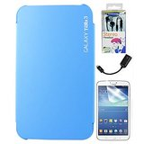 Samsung Galaxy Tab 3 P3200/P211 Cover Case Stand - Light Blue - Matte Screen - USB - Box Packed Black Earphones