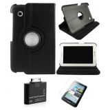 Samsung Galaxy Tab 2 P3100 Rotating Cover Case Pouch - Black - Matte Screen Protector - Tab 2 Camera Kit