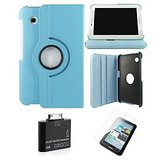 Samsung Galaxy Tab 2 P3100 Rotating Cover Case Pouch - Blue- Matte Screen Protector - Tab 2 Camera Kit