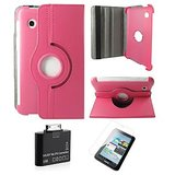 Samsung Galaxy Tab 2 P3100 Rotating Cover Case Pouch - Magenta- Matte Screen Protector - Tab 2 Camera Kit