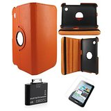 Samsung Galaxy Tab 2 P3100 Rotating Cover Case Pouch - Orange- Matte Screen Protector - Tab 2 Camera Kit