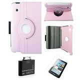 Samsung Galaxy Tab 2 P3100 Rotating Cover Case Pouch - Pink- Matte Screen Protector - Tab 2 Camera Kit