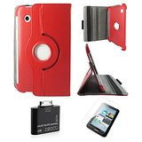 Samsung Galaxy Tab 2 P3100 Rotating Cover Case Pouch - Red- Matte Screen Protector - Tab 2 Camera Kit