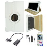 Samsung Galaxy Tab 2 P3100 Rotating Cover Case Pouch - White- Box Packed Black Earphones - OTG