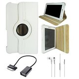Samsung Galaxy Tab 2 P3100 Rotating Cover Case Pouch - White- White Earphones - OTG