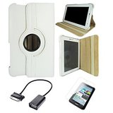 Samsung Galaxy Tab 2 P3100 Rotating Cover Case Pouch - White- Matte Screen - OTG