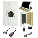 Samsung Galaxy Tab 2 P3100 Rotating Cover Case Pouch - White- USB Data Cable - OTG