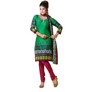 Fabdeal Green Colored Pure Cotton Printed Dress Material