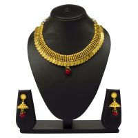 VK Jewels Gold Plated Temple Necklace with Earrings- NKS1089G [VKNKS1089G]