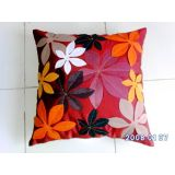 Felt Flower Patch Cushion Cover Red