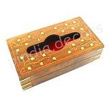 Wooden Hand Carved & Brass Inlaid Napkin Box Paper Tissue Holder Box Handicraft