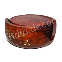 Wooden Carved Tea Coaster Set Of 6 Plate With Stand Dining Table Serving Office
