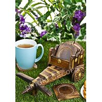 Bullock Cart Coaster Set Of 6 WOODEN TEA Office Home Decor Dinning Kitchen Coffee