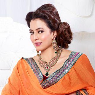 Kriaa Mithya Pink & Green Austrian Diamond Stone Necklace Set with Maang Tikka