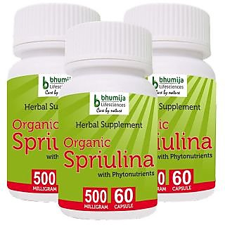 ORGANIC SPIRULINA CAPSULES 60'S (COMBO PACK OF THREE)