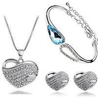 Cyan Crystal Heart Pendant Set And Charm Bracelet Combo