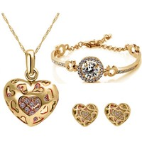 Cyan Heart Shaped Engraved Pendant Set And Gold Plated Zircon Bracelet Combo