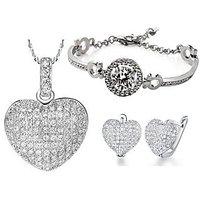 Cyan Heart Shaped Crystal Studded Pendant Set And Rhodium Plated Zircon Bracelet Combo