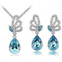 Cyan Butterfly Style Jewelry Set