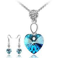 Cyan Heart Pendant Of Love With Earrings