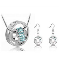 Cyan Double Float Heart Pendant Set