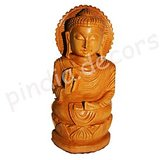 Lord Buddha God Wood Temple Home Decor Budha Buddhism Carved statue Idol