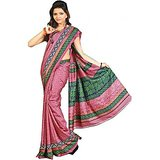 Meher Pink artsilk saree with prints green border