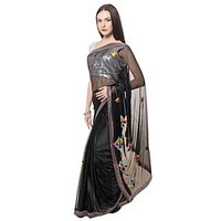 Stylish Saree By Designez With Emroidery All Over With Matching Blouse