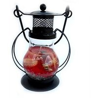 TGs Smart Black Metal Lantern Candle (Red, Pack Of 1)