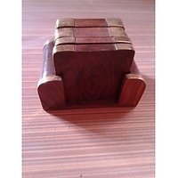 Wooden Tea Coaster With 6 Plates - 1031254