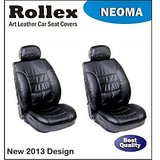 Duster Black With White Neoma Leather Car Seat Covers