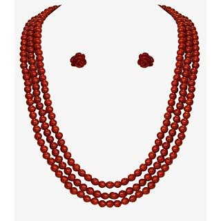 Nisa Pearls Layered StyleMaroon Beaded Necklace Set