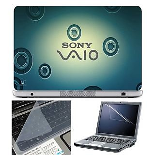FineArts Laptop Skin Sony Vaio Blue Circle With Screen Guard and Key Protector - Size 15.6 inch