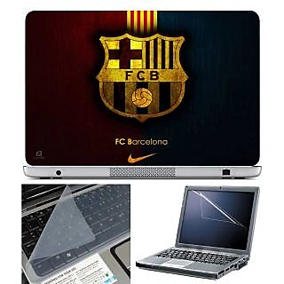 FineArts Laptop Skin - FC Barcelona With Screen Guard and Key Protector - Size 15.6 inch