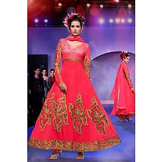 Fashionista Georgette Red Semi-Stitched Anarkali Suit.