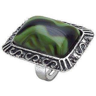 Bijou Adjustable Green Shaddy Stone Gypsy Ring