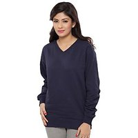 Clifton Womens Cotton V Neck Navy Sweat  Shirt