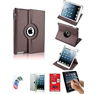 PU Leather Full 360 Degree Rotating Flip Book Case Cover Stand for ipad 4 ipad 3 ipad 2 (Brown) with Matte Screen Guard, Stylus, Wrist band + 16GB SANDISK EXTERNAL PENDRIVE