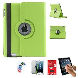 PU Leather Full 360 Degree Rotating Flip Book Case Cover Stand for ipad 4 ipad 3 ipad 2 (Green) with Matte Screen Guard, Stylus, Wrist band + 16GB SANDISK EXTERNAL PENDRIVE
