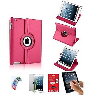 PU Leather Full 360 Degree Rotating Flip Book Case Cover Stand for ipad 4 ipad 3 ipad 2  (Hot Pink) with Matte Screen Guard, Stylus, Wrist band + 16GB SANDISK EXTERNAL PENDRIVE