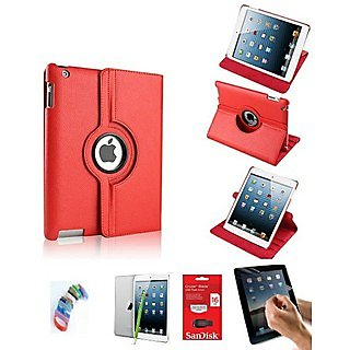 PU Leather Full 360 Degree Rotating Flip Book Case Cover Stand for ipad 4 ipad 3 ipad 2 (Red) with Matte Screen Guard, Stylus, Wrist band + 16GB SANDISK EXTERNAL PENDRIVE