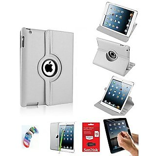 PU Leather Full 360 Degree Rotating Flip Book Case Cover Stand for ipad 4 ipad 3 ipad 2 (White) with Matte Screen Guard, Stylus, Wrist band + 16GB SANDISK EXTERNAL PENDRIVE