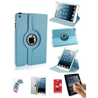 PU Leather iPad Mini 2 Retina 360 Degree Rotating Leather Case Cover Stand (Sky Blue) with Matte Screen Guard, Stylus, Wrist band + 16GB SANDISK EXTERNAL PENDRIVE