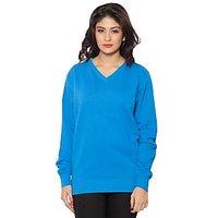 Clifton Womens Cotton V Neck Royal Blue Sweat  Shirt