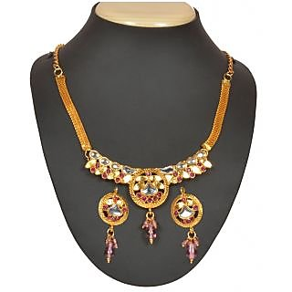 14Fashions Gold Plated Chain Pendent Set in   Pink - 1101013