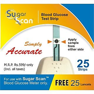 Thyrocare Sugar Scan 100 Strips + FREE 100 Lancets for Glucometer Blood Sugar Monitor - Expiry Aug 2015