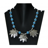 Antique Blue Stone Chinar Leaf Pendant Necklace