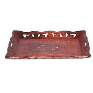 Onlineshoppee Wooden Handicrafts Designed Tray Large Size