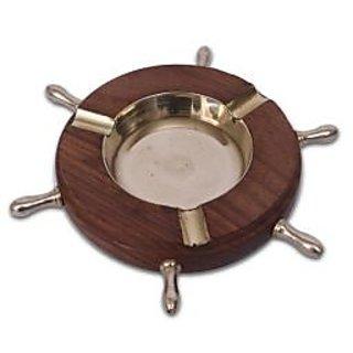 OnlineShoppee Wooden Premium Quality Antique Ashtray With Ship Wheel Design